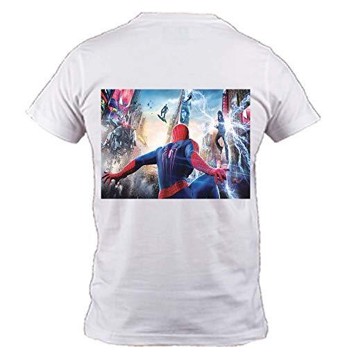 Sharvgun Amazing Spider Man Back Unisex Printed Summer Casual Short Sleeve T Shirts Tees White