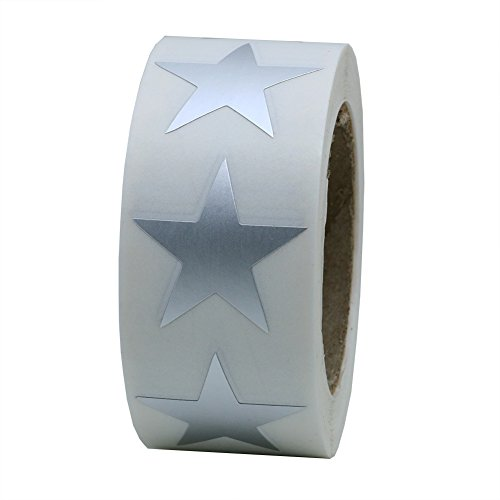 Hybsk Silver Metallic Foil Star Shape Paper Sticker Labels Packaging Seals Crafts Wedding Favor Tag Labels 500 Total Per Roll (1 Roll) (Metallic Stars Silver)