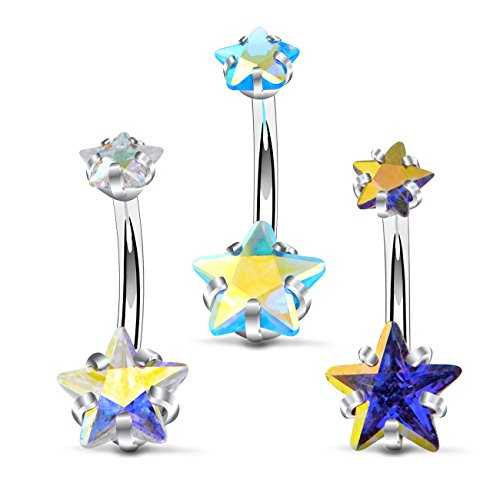 OUFER 3Pieces Star CZ Belly Button Ring Set Surgical Steel Curved Navel Barbell Body Piercing 14G(1.6mm)