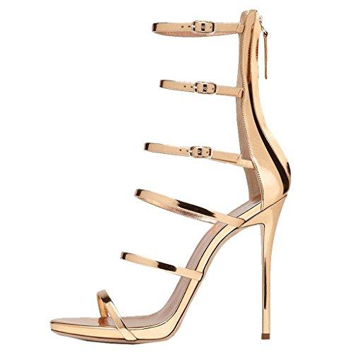 EKS - Zapatos de tacón fino Mujer Dorado - dorado