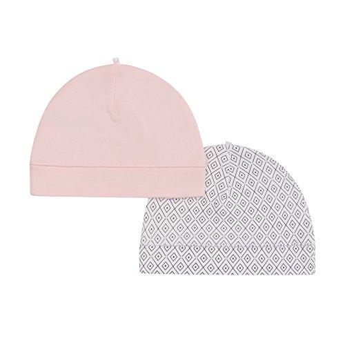 Petit Lem Girls Baby 2-Pack Hats, Organic Cotton, Adorable and Soft, Light Pink, NB/3M