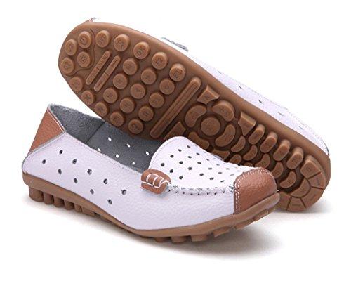Minetom Damen Mokassin Hohl Flach Arbeiten Loafer Slipper Schuhe Sommer Bootsschuhe Weiß