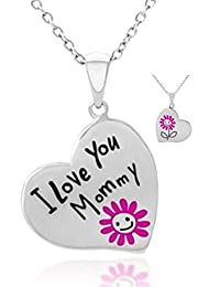 ''I Love You Mommy'' Engraved Heart w/Pink Flower Pendant Necklace Gift from Child Daughter to Mother - Mother's Day Jewelry Gifts