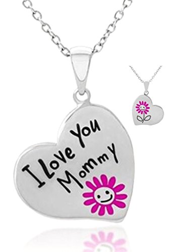Mother's Day Jewelry Gift Necklace for Mommy ''I Love You Mommy'' Engraved Heart w/ Pink Flower Pendant Necklace Gift from Child Daughter to Mother - New Mom Jewelry - To Best Mom Ever ()