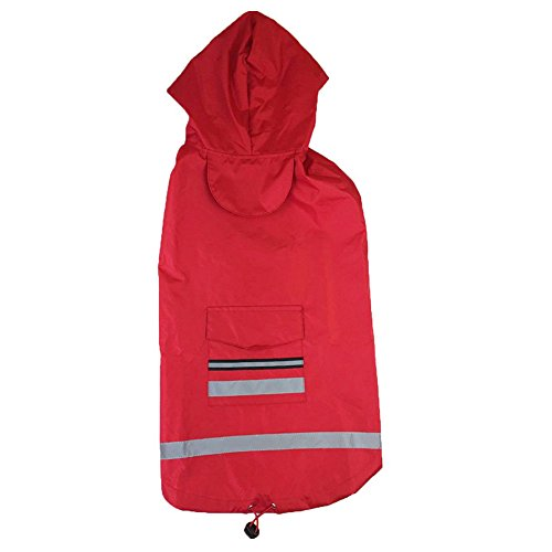 Frost`nai Pet Clothes Dog Raincoat with Hood Safe Reflective Stripe,Lightweight Waterproof Rain Jacket (XXXXL, Red) ()