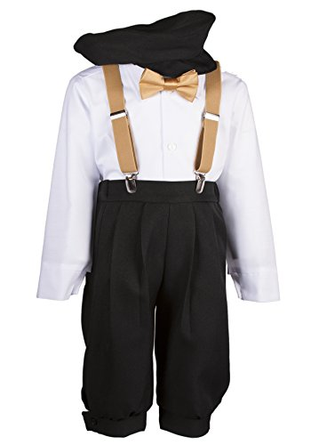 Boys Black Knickers Set Pageboy Cap Antique Gold Suspenders & Bow Tie (6 Boys) by Tuxgear