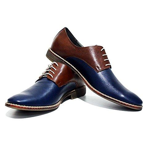 PeppeShoes Modello Monreale - Cuero Italiano Hecho A Mano Hombre Piel Azul Marino Zapatos Vestir Oxfords - Cuero Cuero Suave - Encaje