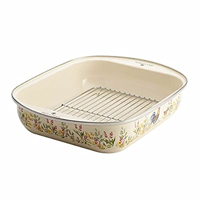 """Paula Deen Enamel-on-Steel Roaster with Removable Chrome Rack, 14"""" x 12""""/Small"""
