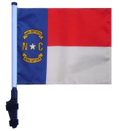 - STATE of NORTH CAROLINA Golf Cart Flag with SSP Flags Pole and EZ On & Off Bracket