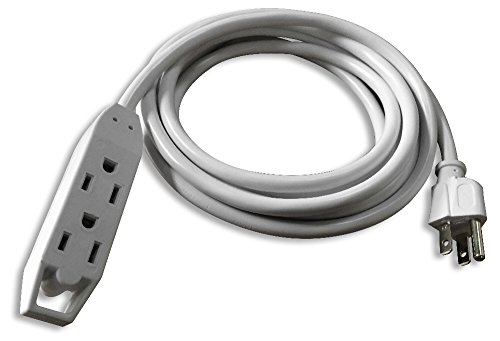 QVS 3-Outlet 3-Prong Extension Cord - 10' Computer Power Cable, White (PC3PX-10WH)
