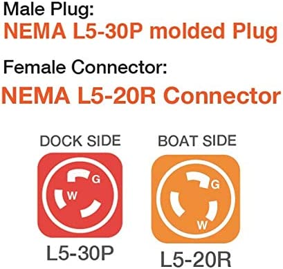 Marvine Cable Shore Power Cord Adapter 30A Male L5-30P to 20A Lock Female L5-20R 1.5ft