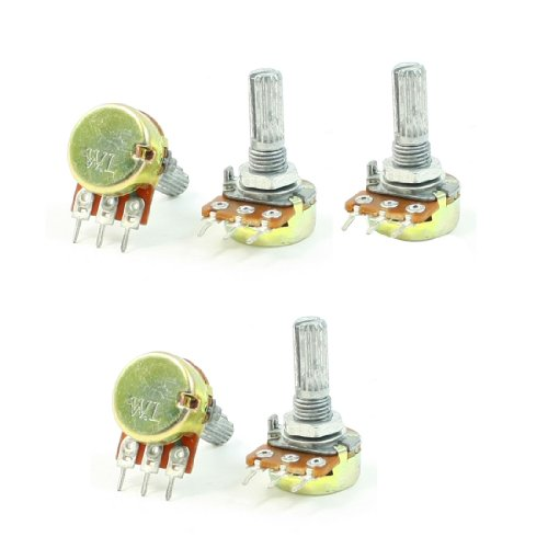 Uxcell a13061400ux0444 B10K 10K Ohm Adjustment Single Linear Rotary Taper Potentiometer 5 Pieces ()