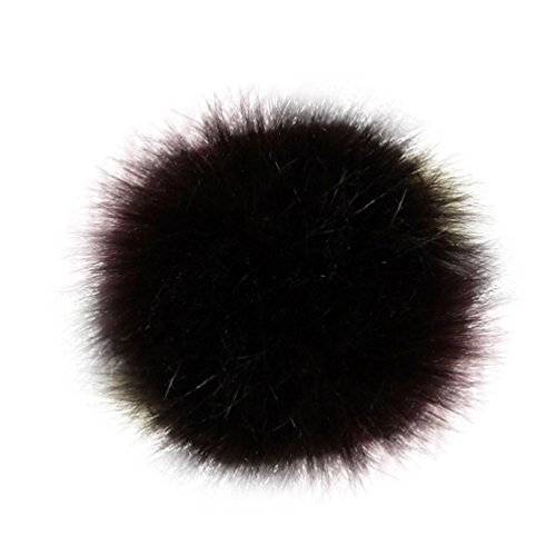 Qingfan DIY 12pcs Faux Fox Fur Fluffy Pompom Ball For Hats Shoes Scarves Bag Charms (Coffee) from Qingfan
