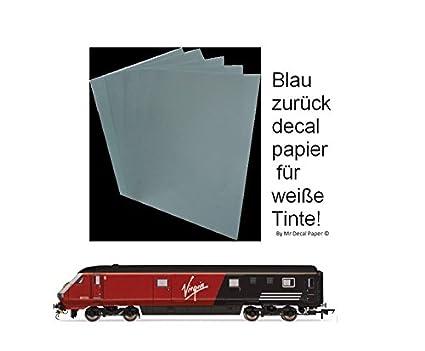 Azul Satisfacción Decal papel resonante con tinta blanca de ...