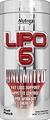 Lipo 6 Unlimited Powder by Nutrex Research. Fruit Punch.