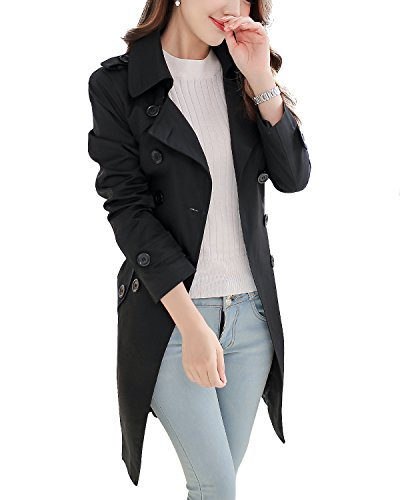 NANJUN Women's Double Breasted Trench Coat Chelsea Tailoring Overcoat (Black 6)