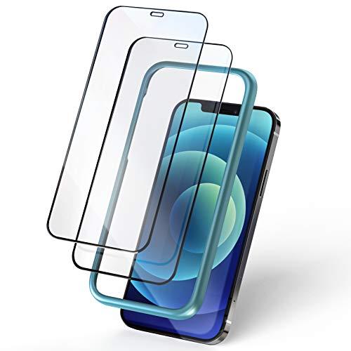 KKUYI iPhone 12 Pro MAX用ガラスフィルム 全面保護フィルム 強化ガラスフィルム ガイド枠付き 9H強化ガラスフィルム 貼り付けやすい 高透明感 全面保護 耐衝撃6.7インチ アイフォン12ProMAX用保護フィルム(2枚入り)