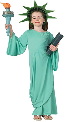 [Girls Patriotic Statue Of Liberty Kids Child Fancy Dress Party Halloween Costume, M (8-10)] (Comical Halloween Costumes)