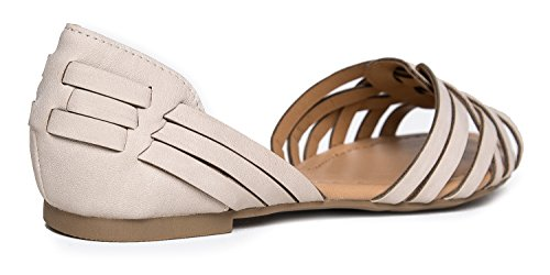 Taupe Sandal – Peep Pattern Strappy Toe Nbpu Cutout Wendi D'Orsay Comfortable J Woven Flats Adams Casual Shoes – Open by 1xnSnAUqFw