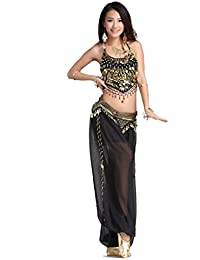 Lady's Belly Dance Chiffon Banadge Top and Lantern Coins Pants