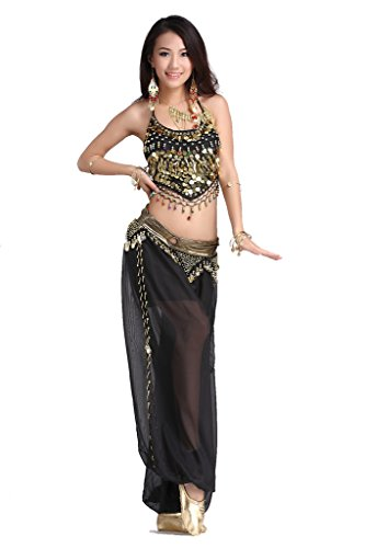 [ZLTdream Lady's Belly Dance Chiffon Banadge Top and Lantern Coins Pants Black, One Size] (Belly Dance Costumes Bra)