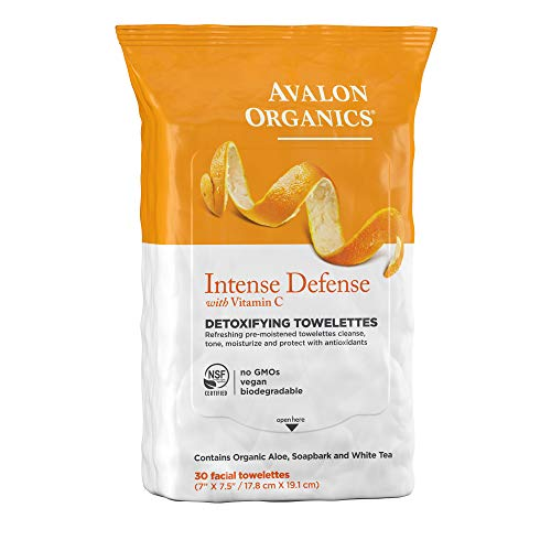Avalon Organics Intense Defense Detoxifying Facial Towelettes, 30 Count - Wipes Biodegradable Natural