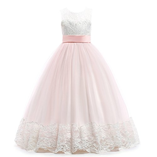 Weileenice 3-16Y Big Girls Lace Bridesmaid Dress Dance Gown A Line Dresses Long for Wedding Party (15-16 Years, White/Pink)