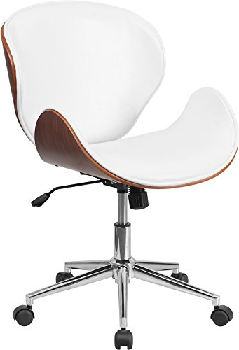 Mid-Back Walnut Wood Swivel Conference Chair in White Leather (Conference Swivel)
