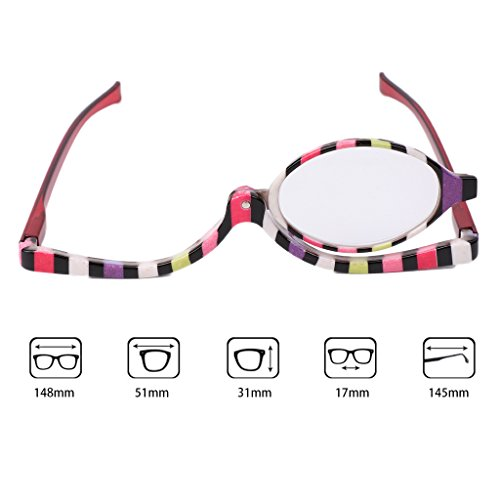 Allrise Magnifying Makeup Eyeglasses, Cosmetic Reading Glass Folding Eyeglasses Eyewear +1.0~+4.0 Glasses - With Makeup Tips Glasses