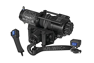 New KFI 3500 lb Stealth Edition Winch & Model Specific Mounting Bracket - 2006-2007 Polaris Hawkeye 300 2x4 ATV