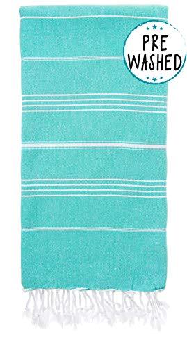 (Wetcat Original Turkish Beach Towel (37 x 70) - Prewashed Peshtemal, 100% Cotton - Highly Absorbent, Quick-Drying & Ultra-Soft - Washer-Safe, No Shrinkage - Stylish, Eco-Friendly (Basic Mint)