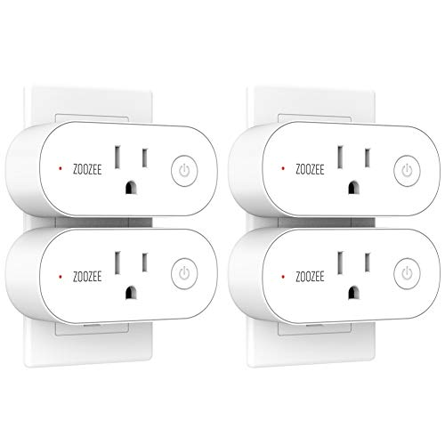 Smart Plug Wifi Outlet ZOOZEE Mini Smart Socket with Energy Monitoring and Timer Function Compatible With Alexa, Echo, Google Home and IFTTT 16A (4 pack)