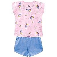 Pijama Infantil Menina Blusa E Short Brilha no Escuro
