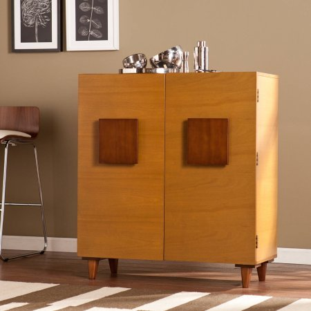 Southern Enterprises Chase Midcentury Modern Bar/Anywhere Cabinet, Honey Oak/Espresso