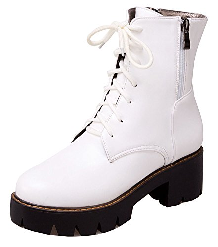 Lace SHOWHOW Solid Up Boots Color Women's White Trendy Waterproof X66wxFzO