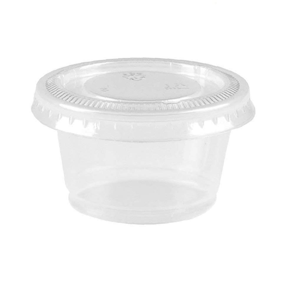 Quici 100 unidades Slime contenedores PP vasos de plástico con tapas de plástico Pet alta transparente tazas de salsa de alimentos contenedor de ...