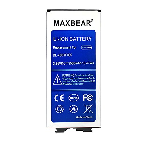MAXBEAR G5 Battery,3500mAh Replacement Li-ion Battery for LG G5 BL-42D1F H830 (T- Mobile),H820 (AT&T),VS987 (Verizon),LS992 (Sprint),US992 (US Cellular) | G5 Spare Battery by MAXBEAR (Image #1)