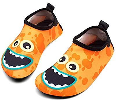 Giotto Kids Swim Water Shoes Quick Dry Non-Slip for Boys & Girls, G015A-Orange, 30-31