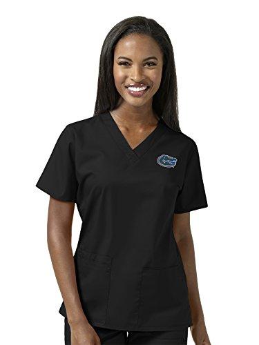 WonderWink Women's Plus Size University of Florida V-Neck Top, Black, 2X-Large