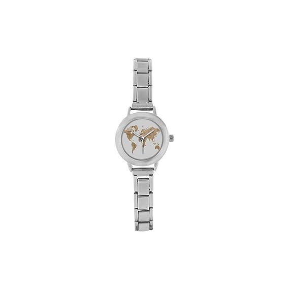 Reloj Vintage de Viaje, Regalo de graduación, Mapa del Mundo de los Viajes, Reloj clásico de Acero Inoxidable, Reloj de Pulsera para Mujer: Amazon.es: ...