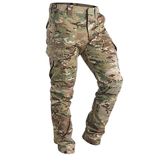 IDOGEAR GL Tactical Pants Multicam Combat Pants for Airsoft Military Hunting Paintball Outdoor Sports Slim Fit Style (A:Multicam, X-Large(36W/33L))