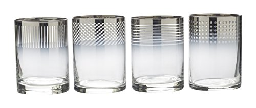 Mikasa Cheers Metallic Ombre Double Old Fashioned Drinking Glass 13Ounce Set of 4