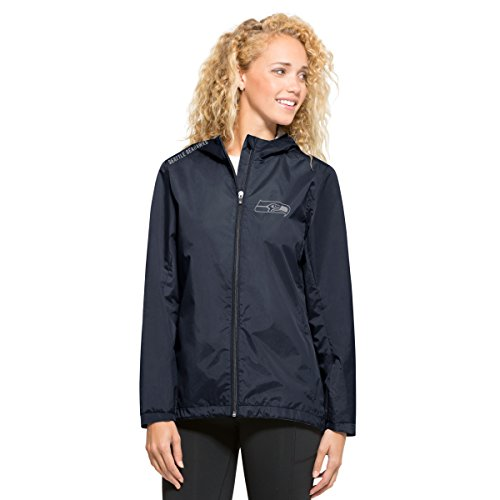 '47 NFL Seattle Seahawks Women's React Full Zip Hooded Jacket, Medium, (Blue Seattle Seahawks Jacket)