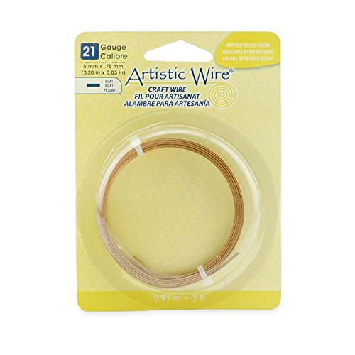 Artistic Wire 21-Gauge Flat 5mm by .75mm, 3-Feet, Antique Brass