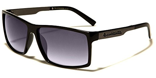 Black Gradient Lens Biohazard Square Frame Metallic Arms Men'S Sunglasses by Unknown