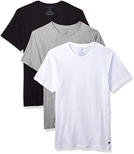Tommy Hilfiger Men's Undershirts 3 Pack Cotton Classics Slim Fit Crew T-Shirt, Black Pepper Large (Tommy Pack Tshirt Men Hilfiger)
