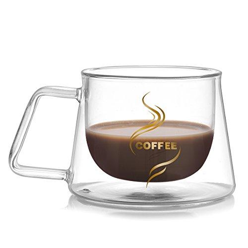 Teocera Double Walled Mug - 7 oz, Borosilicate Glass Espresso Cups with comfortable square handle, Stylish And Durable Coffee Glass Mug with Insulation, Perfect for Espresso Coffee, Tea, Kinds of (Square Coffee Mug)