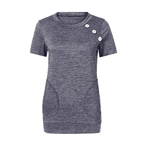 Corte Beladla Tops Donna Unita Camicie Girocollo Ragazza Grigio Tinta Abbligemento A Casual Blusa Manica Eleganti Da Top Retro Maglie I7gyYfbv6