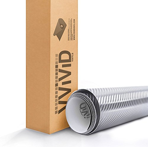 VViViD XPO Silver Chrome Carbon Car Wrap Vinyl Roll with Air Release Technology (.5ft x 5ft) 0.5' Bubble Wrap