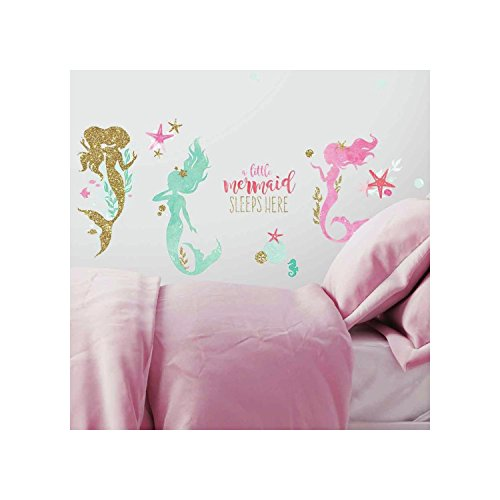 RoomMates Mermaid Peel And Stick Wall Decals With Gltter by RoomMates